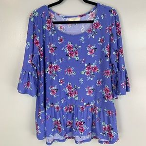 Tops - No Comment peplum bell sleeve floral top
